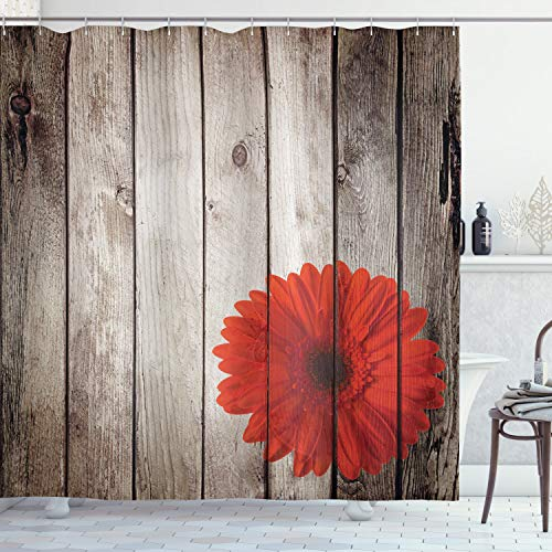 """Ambesonne Rustic Shower Curtain, Flower Red Dahlia on Foreground of Murky Featured Dated Wooden Board Retro Art Print, Cloth Fabric Bathroom Decor Set with Hooks, 70"""" Long, Brown"""