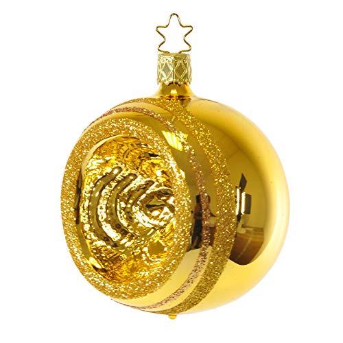 Inge's Christmas Kugel aus Glas, mit Glitzereffekt, Durchmesser 6 cm, goldfarben