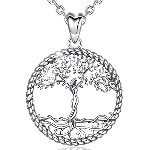 AEONSLOVE Sterling Silver Tree of Life Necklace Celtic Family Tree of Life Pendant Necklaces Jewellery Gifts for Women Girls Mom Girlfriend, 18'' Chain