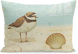 Aikul Throw Pillow Covers Bird Vintage Beach Scene Beachy Summer Shell Clam Pillow Case Cushion Cover Lumbar Pillowcase Decoration for Couch Sofa Bed Car,20 x 26 inchs