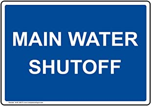Main Water Shutoff Label Decal, 5x3.5 inch 4-Pack Vinyl for Dining/Hospitality/Retail by ComplianceSigns