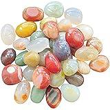 OVISEEN Piedras decorativas de 8 a 12 mm, piedras de río pulidas naturales, varios colores, pequeñas adoquines, ágata para el jardín, acuario, macetas, jarrones, decoración (ovalado, 500 g)