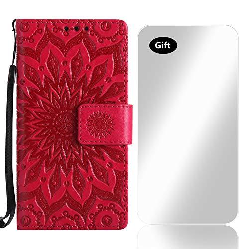 Galaxy S8 Hülle, Bear Village® Leder PU Cover Magnet Filp Brieftasche Schutzhülle mit Kostenlos Schutzfilm aus Gehärtetem Glas für Samsung Galaxy S8 (#5 Rose Rot)