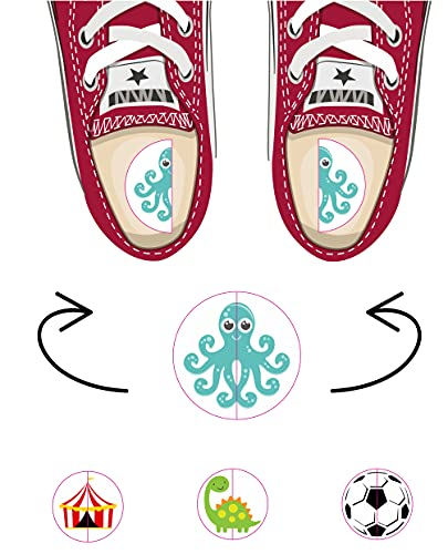 Etiquetas zapatos para diferenciar derecho izquierdo. 20 pares pegatinas niños escuela mix