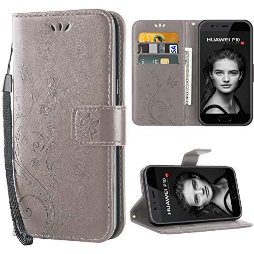iDoer Hülle Kompatibel Mit Huawei P10 Schmetterling Leder Hülle Schutzhülle Grau