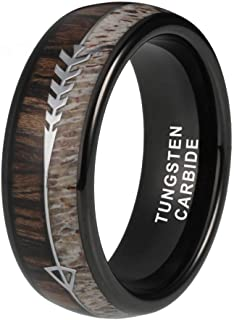 iTungsten 8mm Silver/Black/Rose Gold Tungsten Rings for Men Women Wedding Bands Deer Antler Koa Wood Arrow Inlay Domed Polished Shiny Comfort Fit