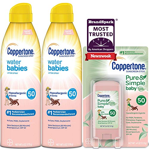 Coppertone WaterBabies SPF 50 Lotion Spray + Pure & Simple Baby Mineral SPF 50 Stick Multipack (6 Ounce Spray, Pack of 2 + 0.5 Ounce Stick)