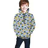 Kaopey Minions Hoodies 3D Print Pullover Hooded Sweatshirts with Pockets for Boys Girls
