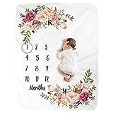 Ecisi Super weiche Baby monatliche Meilenstein Decke, Premium Fleece BPA-freie personalisierte Fotografie Hintergrund Decken Baby monatliche Dusche Decke für Neugeborene