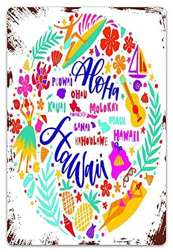 DECISAIYA Vendimia Cartel de Chapa metálica Mapa de Las Islas de Hawái y Atracciones turísticas Símbolos y Ukelele Hula Dancer Surf Placa Póster,Decoraciones de de Pared de Hierro Retro 20x30cm