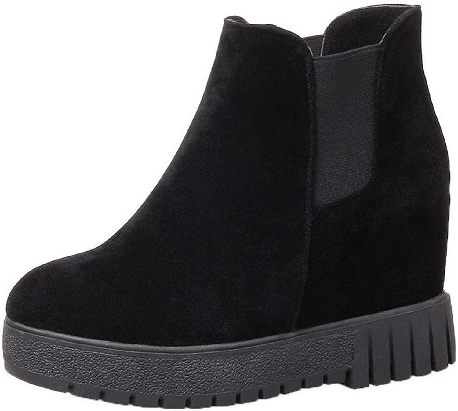 WeenFashion Women's Pull-On Closed-Toe High-Heels Frosted Low-Top Boots, AMGXX114711