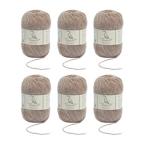 TEHETE 100% Wool Yarn 6X50g 3-Ply S…