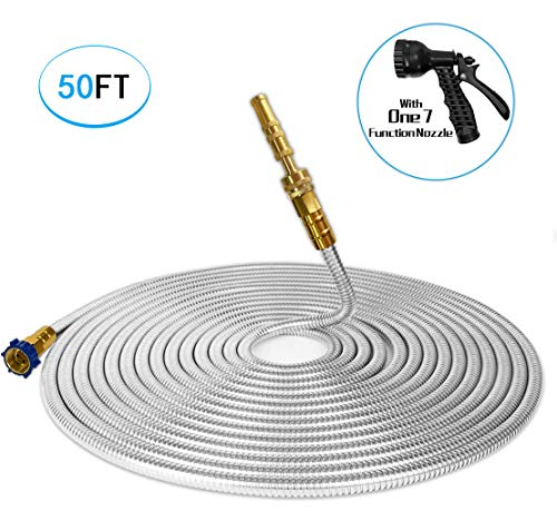 TUNHUI 304 Stainless Steel Garden Hose with Solid Brass Nozzle 50FT Outdoor Hose, 7 Function Spray Gun Solid Metal Fittings Water Hose Flexible Durable Kink Free and Easy to Store