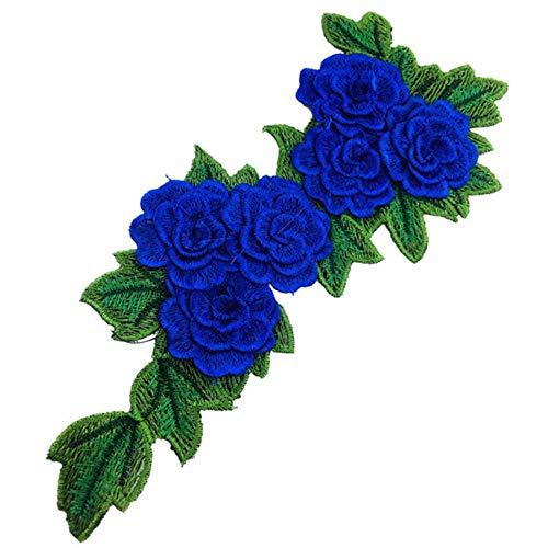 1pc Blue Series Lace Ausschnitt Kragen Blume und Herz Venise Lace Applique Trim, Lace Fabric Sewing Supplies Scrapbooking-Blue
