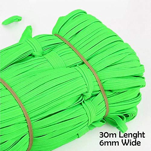 6 mm elastische band naaien meerdere kleuren elastische band rubberen touw riem naaien accessoires s/kleding/schoen/hoed/handschoen/ondergoed, 30m smaragd groen, Verenigde Staten