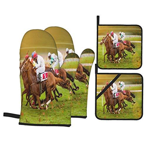 4 Piezas de Manoplas para Horno y Juegos de Soportes para ollas,Equitación Carreras de Caballos en la Pradera Verde,Agarraderas para Cocina Cocinar Hornear BBQ