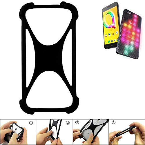 K-S-Trade® Handyhülle Für Alcatel A5 LED Schutz Hülle Silikon Bumper Cover Case Silikoncase TPU Softcase Schutzhülle Smartphone Stoßschutz, Schwarz (1x),