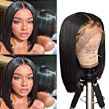 Short Bob Lace Front Wigs Human Hair Middle Part Bob Wigs Human Hair 13×6×1 Brazilian Straight Human Hair Lace Wigs Bob 130% Density Human Hair Lace Front Wigs Natural Color 14 Inch
