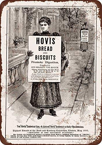SXTED Tin Sign New Aluminum 1895 Hovis Bread and Biscuits Vintage Aluminum Metal Sign 12' x 8'
