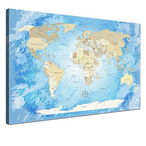 """LANA KK - Weltkarte Leinwandbild mit Korkrückwand zum pinnen der Reiseziele – """"Worldmap Frozen"""" - deutsch - Kunstdruck-Pinnwand Globus in blau, in 100x70cm"""
