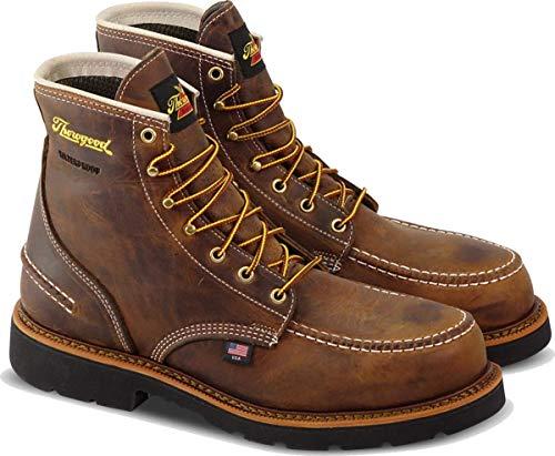 "Thorogood 804-3696 Men's 1957 Series - 6"" Moc Toe, MAXWear90 Waterproof Safety Toe Boot, Crazyhorse - 8 M US"
