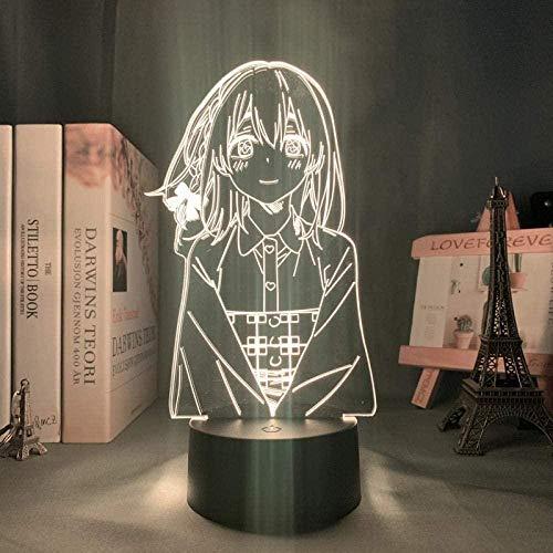 WENJZJ Anime Kanojo Okarishimasu Lámpara 3D Sumi Sakurasawa LED Luz de Noche para niños Decoración Nightlight Room Regalo de cumpleaños 16 Color