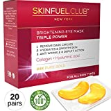 SkinFuel.Club 24K Gold Collagen Eye Mask for Puffy Eyes, Dark Circles, Wrinkles
