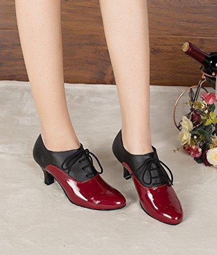 Minitoo TH159 Schnürschuh für Damen, modern, Leder, Pumps, Tanzschuhe, geeignet für Hochzeiten, Bälle, Lateinamerikanische Tänze, Tango, Rot – rot – Größe: 39 1/3 - 6