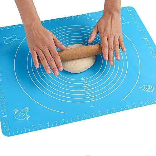 50x40cm Backmatte Baking Mat Nonstick Rutschfeste Backunterlage mit Messungen Fondant Teig Gebäck aus Silikon Backmatte Teigmatte Wiederverwendbar für Fondant Gebäck Pizza Matte, BPA Frei, (Blau)