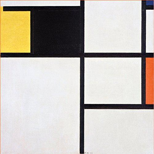 Piet Mondrian Composition Yellow Black Blue Red and grey 30 x 30 cm cadre impression sur Panneau en bois MDF bord noir