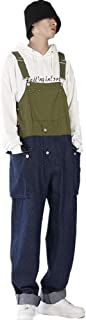 Fansu Men Denim Overalls Trousers Dungarees Vintage Work Bib Jeans Jumpsuits with Knee Pads Pockets Coveralls Pants Big Wa...