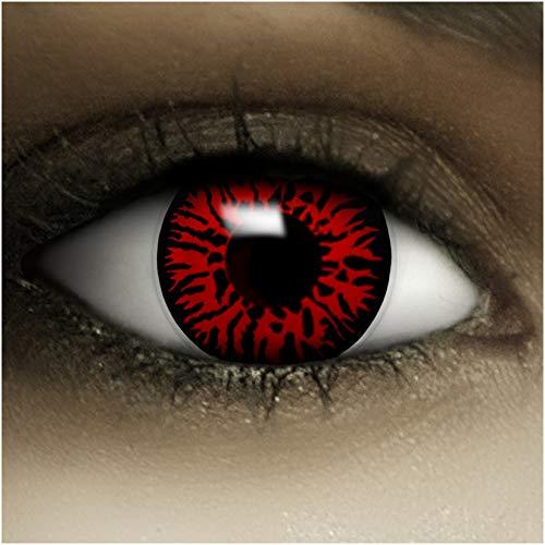Farbige Kontaktlinsen Dämon MIT STÄRKE -1.00 + Kunstblut Kapseln + Behälter von FXCONTACTS in rot, weich, im 2er Pack - perfekt zu Halloween, Karneval, Fasching oder Fasnacht