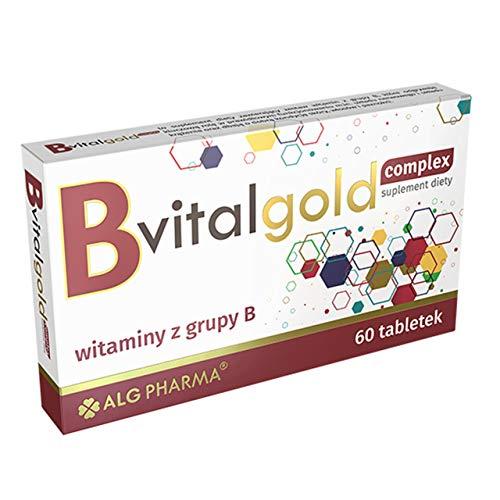 Alg Pharma B VitalGold Complex Paquete de 1 x 60 Tabletas - Complejo de Vitaminas B - Ácido fólico – Biotina – Niacina – Tiamina – B12 y B6