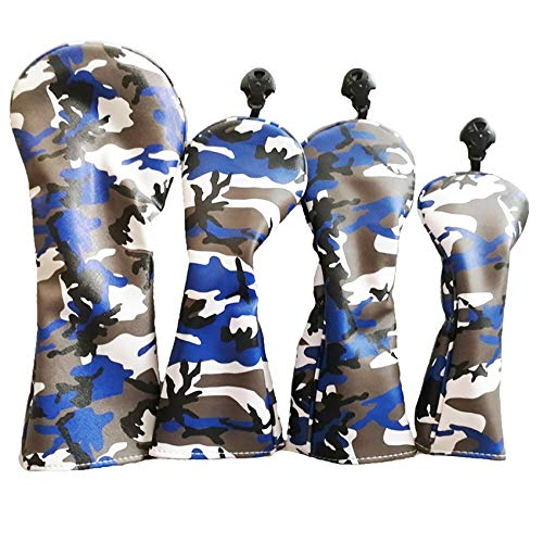 NC Golf Club Headcovers Woods Camouflage Synthetic Leather PU Headcovers for Driver Fairway UT Hybrid Waterproof Durable Head Cover Blue