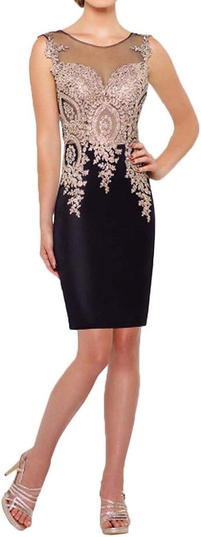 Avril Dress Vintage Appliques Sheath Mini Tulle Illusion Prom Party Dress New