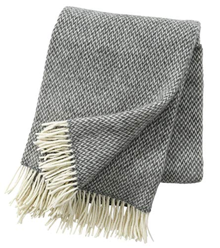 Klippan Premium: Creme-graue Wolldecke 'Pulse Grey' aus 60% Merinowolle - 40% Lambswool, 130x200cm