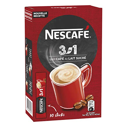 Nescafé 3-in-1 Sticks, löslicher Bohnenkaffee, mit Kaffeeweißer & Zucker, Instant-Kaffee aus erlesenen Kaffeebohnen, koffeinhaltig, 5er Pack (5 x 165g)