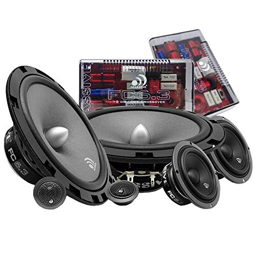 Massive Audio FC6.3 – 6 Inch / 6.5 Inch 3-Way, 150w/300 Watts Max, 6.5 Inch Mid-Bass, 3 Inch Mid-Range, 25mm Tweeter, 4 Ohm, 12db X-Over, Component Kit Speakers. Pair