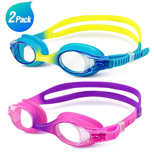 Swim Goggles, TEAMYO 2 Pack Anti Fog Leak Proof Flexible Comfort Kids Swim Goggles, Clear Vision, 3D Tight Fit Design Kids Swimming Goggles With Carrying Bag For Children and Teens Age 6-14