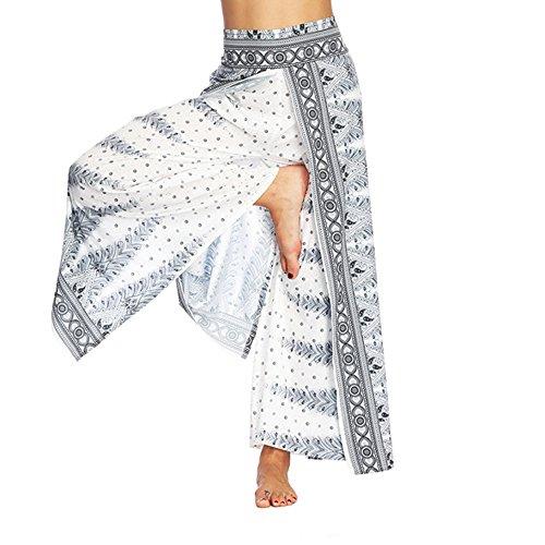 QINPIN Frauen Casual Hosen Thailand Indonesian Digital Printed Lose Weite Hosen Böhmische Yogahosen Weiß M Damen Jogginhose Pumphose Sommerhose Elegante Sommer Pants Casual Beinhosen Freizeithose