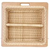 AKWAY Wooden Wicker Basket with Partition | Vegetable Basket | Onion Potato Basket