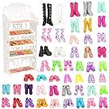 VILLAVIVI 1x Zapatero de plástico Muñeca Fashion + 40x Zapatos Accesorios como Regalo para 28 - 30 CM 11.5 Pulgadas Muñeca