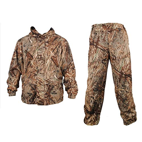 ALLIWEI Heren Hooded Camouflage Winddicht Waterdichte Jungle Verborgen Tactische Uniform Leger Fan Jacht Fotografie Vogel Kijken Comfortabele Ademende Camping Vissersketel Bos Camo Kleding