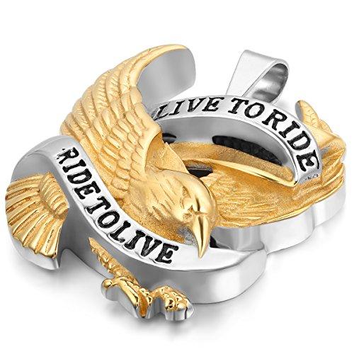 JewelryWe Schmuck Edelstahl Live to Ride - Ride to Live Retro Adler Flügel Herren-Anhänger mit 55cm Kette, Biker Halskette, Gold Schwarz Silber