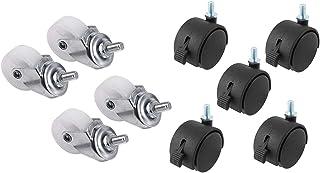 zwenkwielen met rem, Caster Wheels Set van 4 Casters 5 stks 8mm Threaded Stam Wiel Stoel Swivel Caster Black & 4PCS White ...