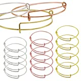 Expandable Bangle Bracelet, Adjustable Wire Silver Bangle Bracelet Bulk Chain for Jewelry Making,Great Gift for Parents or Friends on Thanksgiving Day and Christmas (Silver, Gold and Rose Gold),15PCS