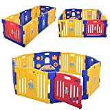 JAXPETY Baby Playpen, 8-Panel Baby Play Yard with Gaming Panel, Locking Gate, Suction Cup, Adjustable Shape for Indoor Outdoor Use, Blue Yellow & Red