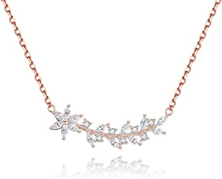 Bridesmaid Gifts Flower Bar Necklace, 14k Gold Plated Sterling Silver Wedding Necklace for Women