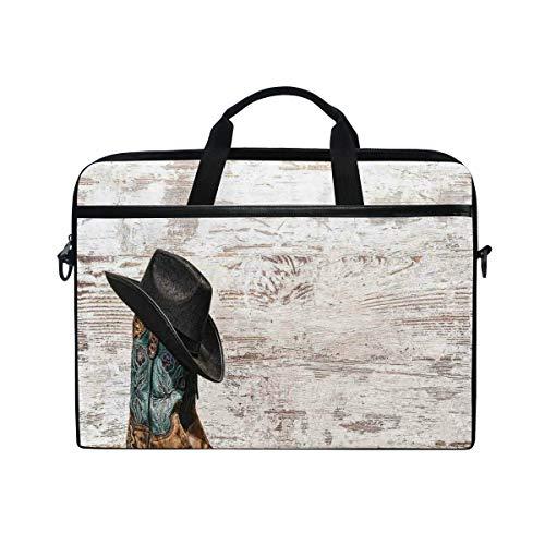 VICAFUCI New 15-15.4 Zoll Laptop Tasche,Umhängetasche,Handtasche,Traditioneller Rodeo-Cowboyhut und Cowgirl-Stiefel in der Retro- Schmutz-Hintergrund-Kunst