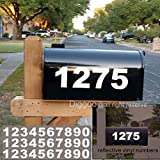 Diggoo Reflective Mailbox Numbers Sticker Decal Die Cut Bold Gothic Style Vinyl Number 3' Self Adhesive 3 Sets for Mailbox, Signs, Window, Door, Cars, Trucks, Home, Business, Address Number